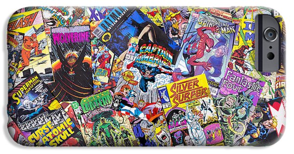 Eighties iPhone Cases - Comic Book Heros iPhone Case by Tim Gainey
