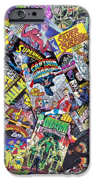 Eighties iPhone Cases - Comic Heros iPhone Case by Tim Gainey