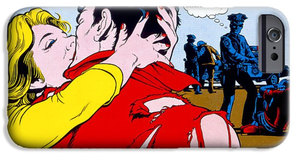 Eighties iPhone Cases - Comic Strip Kiss iPhone Case by MGL Studio