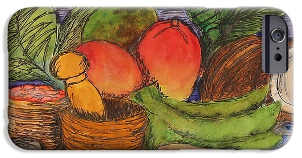 Mango Drawings iPhone Cases - Comida iPhone Case by Amanda Morales