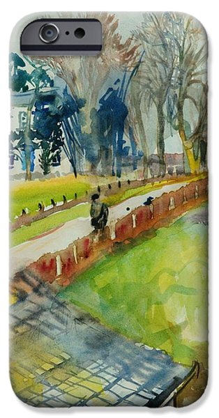 Rural iPhone Cases - Coming Home From Work, 1982 Wc On Paper iPhone Case by Brenda Brin Booker