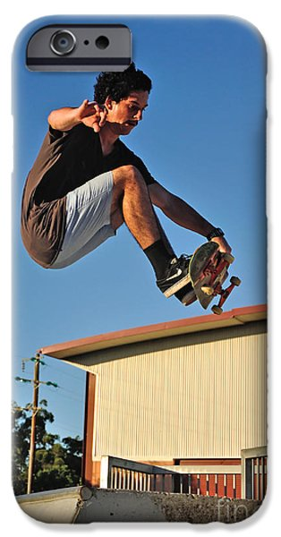 Skateboards iPhone Cases - Coming in to Land - Action  iPhone Case by Kaye Menner