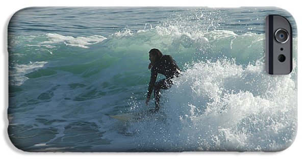 Santa Cruz Surfing iPhone Cases - Coming Out Of The Curl iPhone Case by Donna Blackhall