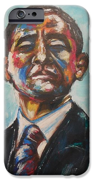 Barack Obama iPhone Cases - Commander in Chief iPhone Case by Valdengrave Okumu
