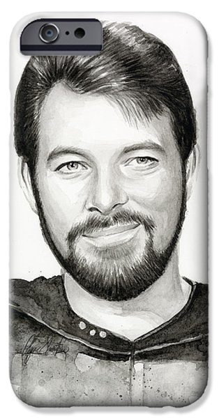 Olga Shvartsur iPhone Cases - Commander William Riker Star Trek iPhone Case by Olga Shvartsur