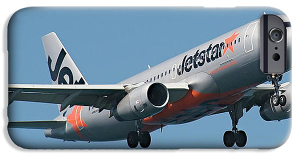 Jetstar Photographs iPhone Cases - Commercial Aircraft at Sydney Airport iPhone Case by Geoff Childs