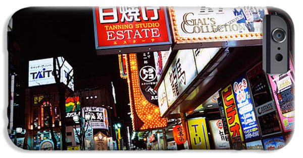 Shinjuku iPhone Cases - Commercial Signboards Lit Up At Night iPhone Case by Panoramic Images