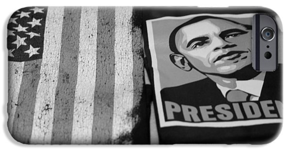 Potus iPhone Cases - COMMERCIALIZATION OF THE PRESIDENT OF THE UNITED STATES in BALCK AND WHITE iPhone Case by Rob Hans