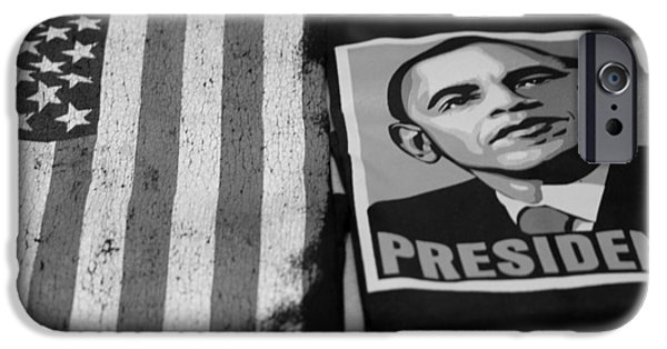 Barack Obama iPhone Cases - COMMERCIALIZATION OF THE PRESIDENT OF THE UNITED STATES OF AMERICA in BLACK AND WHITE iPhone Case by Rob Hans