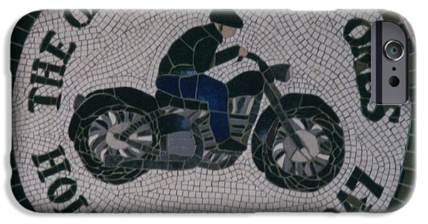 Transportation Ceramics iPhone Cases - Commissioned Bike Club Motif iPhone Case by Pj Flagg Tongue in Chic