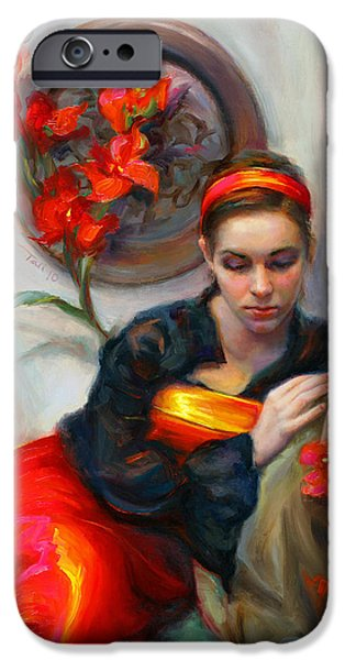 Contemplation iPhone Cases - Common Threads - Divine Feminine in silk red dress iPhone Case by Talya Johnson