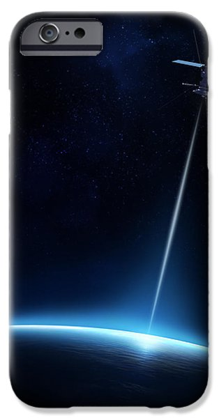 Communication between satellite and earth iPhone Case by Johan Swanepoel