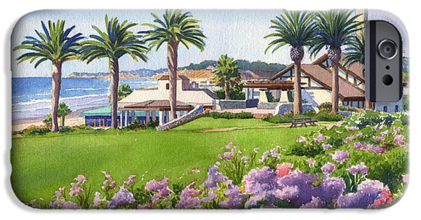 California Beach iPhone Cases - Community Center at Del Mar iPhone Case by Mary Helmreich