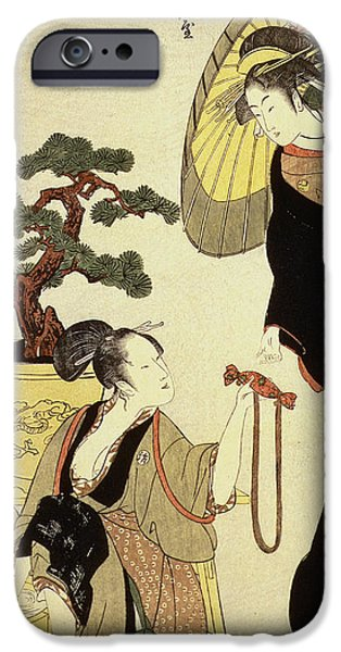 Laundry Paintings iPhone Cases - Comparison of celebrated beauties and the loyal league iPhone Case by Kitagawa Utamaro