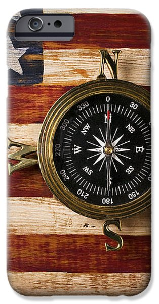 Compass on wooden folk art flag iPhone Case by Garry Gay