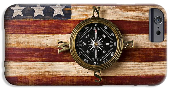 Worn In iPhone Cases - Compass on wooden folk art flag iPhone Case by Garry Gay
