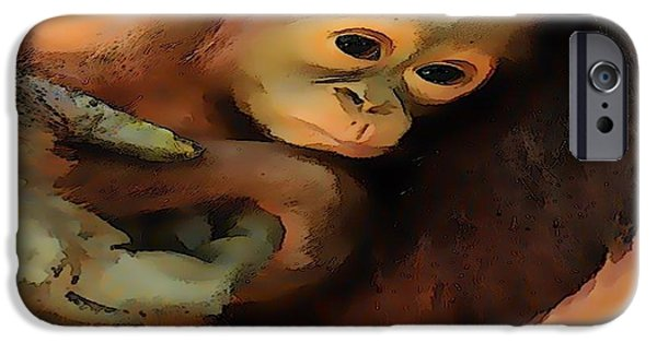 Orangutan Digital Art iPhone Cases - Compassion iPhone Case by Catherine Lott