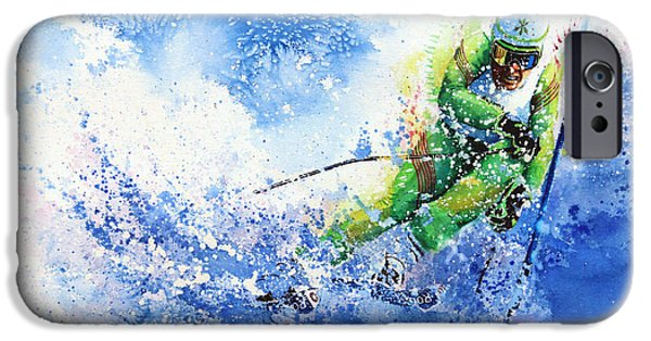 Skiing Action Paintings iPhone Cases - Competitive Edge iPhone Case by Hanne Lore Koehler
