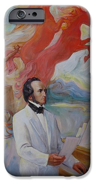 Business Paintings iPhone Cases - Composer Felix Mendelssohn iPhone Case by Svitozar Nenyuk