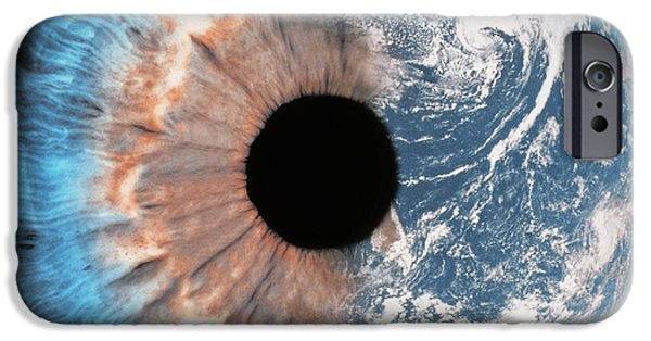 World Changing iPhone Cases - Composite of earth and eye iPhone Case by Spl