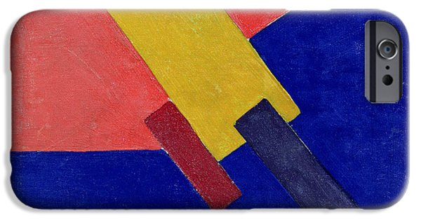 Red Abstract iPhone Cases - Composition, 1918 Oil On Canvas iPhone Case by Olga Vladimirovna Rosanova