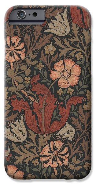 Wallpaper Tapestries - Textiles iPhone Cases - Compton Design iPhone Case by William Morris