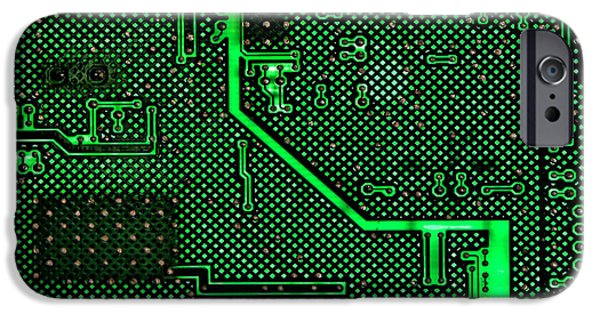 Computers iPhone Cases - Computer Circuit Board iPhone Case by Olivier Le Queinec