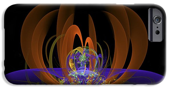 """digital Abstract"" iPhone Cases - Computer generated Art Digital Fractal Abstract Orange Blue Black iPhone Case by Keith Webber Jr"