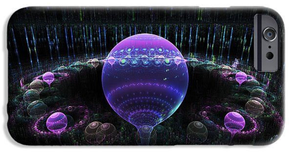 Abstractions iPhone Cases - Computer Generated Blue Purple Abstract Fractal Flame black Background iPhone Case by Keith Webber Jr