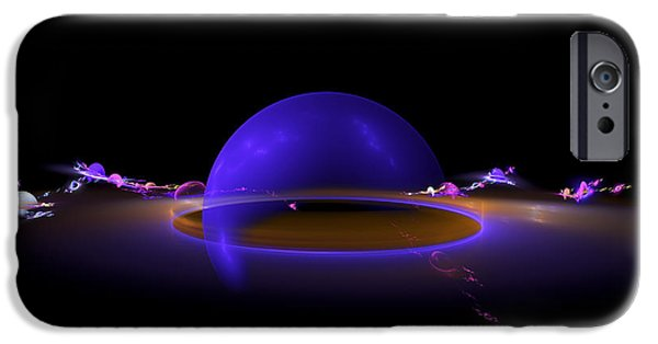 Abstractions iPhone Cases - Computer Generated Fractal Digital Image Planet Shaped Blue Black iPhone Case by Keith Webber Jr