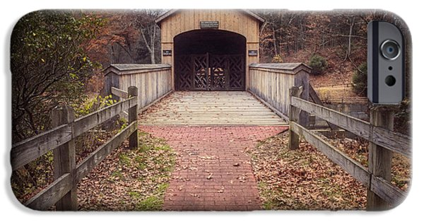 Covered Bridge iPhone Cases - Comstock Covered Bridge 2 iPhone Case by Joan Carroll