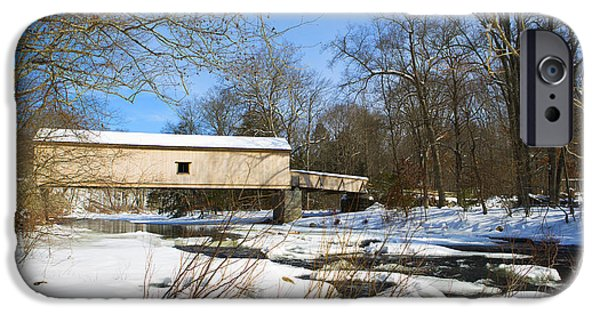 Covered Bridge iPhone Cases - Comstock Covered Bridge in Winter. iPhone Case by Diane Diederich