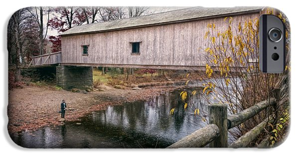 Covered Bridge iPhone Cases - Comstock Covered Bridge iPhone Case by Joan Carroll