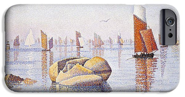 Sailboat Ocean iPhone Cases - Concarneau   Quiet Morning iPhone Case by Paul Signac