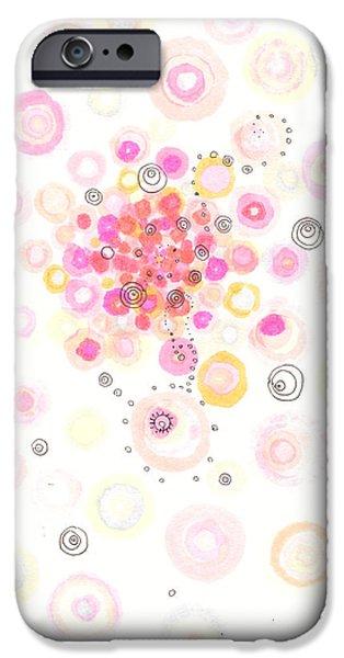 Disc Drawings iPhone Cases - Concave bubblegum iPhone Case by Regina Valluzzi