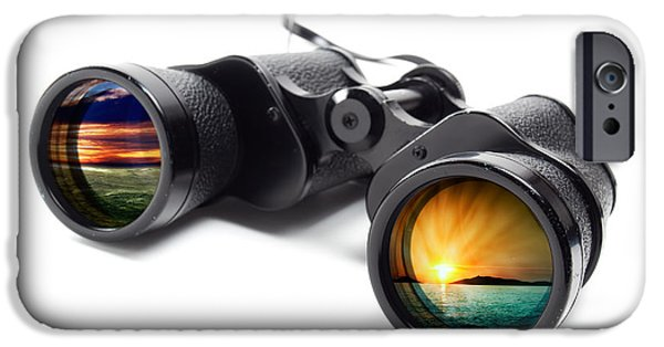 Observer iPhone Cases - Conceptual binoculars iPhone Case by Sinisa Botas