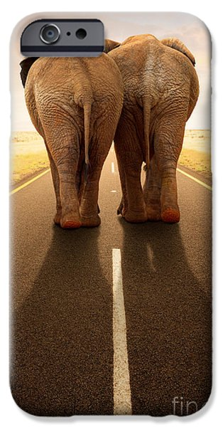 Composite iPhone Cases - Conceptual - Going away together / travel by road iPhone Case by Johan Swanepoel