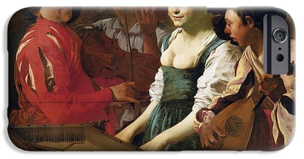Piano iPhone Cases - Concert, 1626 Oil On Canvas iPhone Case by Hendrick Ter Brugghen