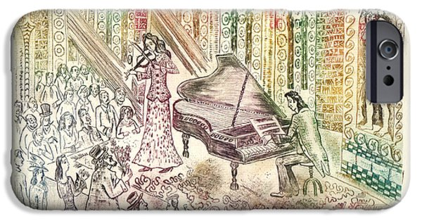 Drypoint iPhone Cases - Concert iPhone Case by Milen Litchkov