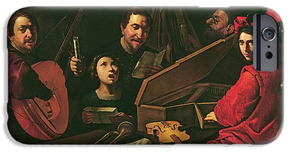Lute iPhone Cases - Concert With Musicians And Singers, C.1625 Oil On Canvas iPhone Case by Pietro Paolini