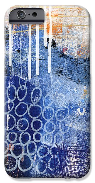 Shape iPhone Cases - Concerto Two- colorful abstract art iPhone Case by Linda Woods