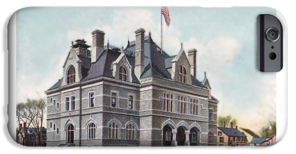 Concord Digital Art iPhone Cases - Concord New Hampshire - United States Post Office - North State Street - 1905 iPhone Case by John Madison