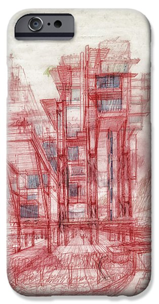 Conceptual Drawings iPhone Cases - Condominiums Hong Kong Sketch iPhone Case by Mountain Dreams