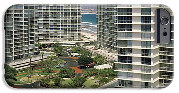 Built Structure iPhone Cases - Condos In A City, San Diego iPhone Case by Panoramic Images