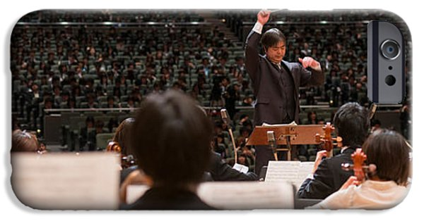 Sheets iPhone Cases - Conductor Leading Orchestra iPhone Case by Panoramic Images