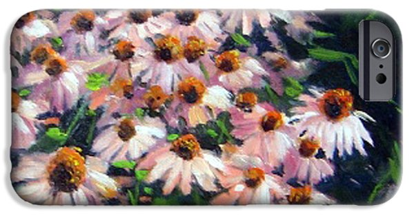 Garden Scene Paintings iPhone Cases - Cone Flower Patch iPhone Case by Rick Hansen