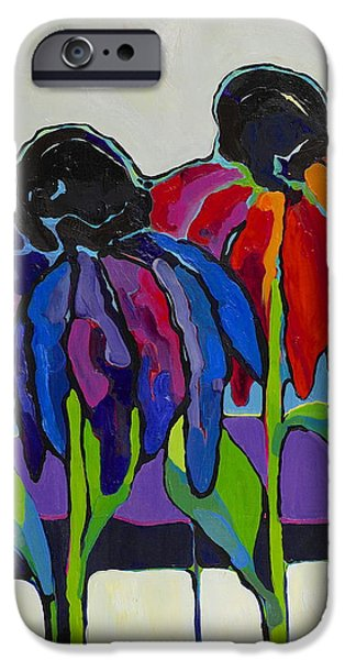 Abstracted Coneflowers Paintings iPhone Cases - Coneflower iPhone Case by Jessi West Lundeen