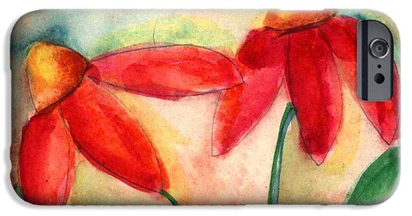 Abstracted Coneflowers Paintings iPhone Cases - Coneflowers II iPhone Case by Heidi Lumpkin