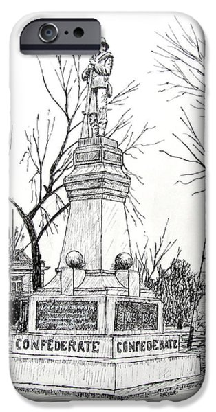 Arkansas Drawings iPhone Cases - Confederate Monument in Bentonville Arkansas iPhone Case by Ron Enderland