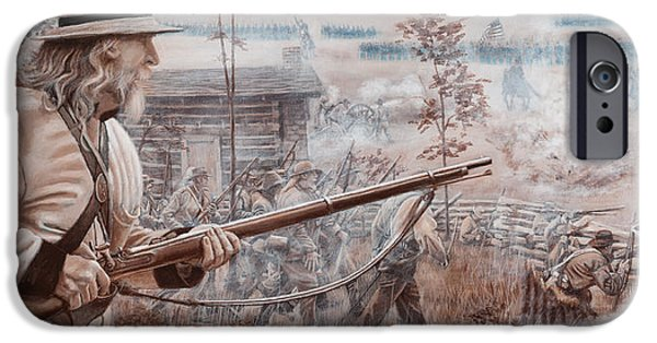 Infantryman Paintings iPhone Cases - Confederate at Chickamauga iPhone Case by Alton  w Williams